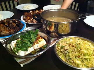 Sunday Night feast BBQ Pork Roast Pork Tofu CAbbage soup